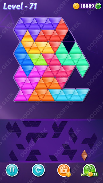Block! Triangle Puzzle 12 Mania Level 71 Solution, Cheats, Walkthrough for Android, iPhone, iPad and iPod