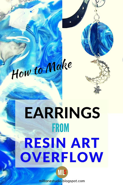 Blue marbled resin orb earrings inspiration sheet