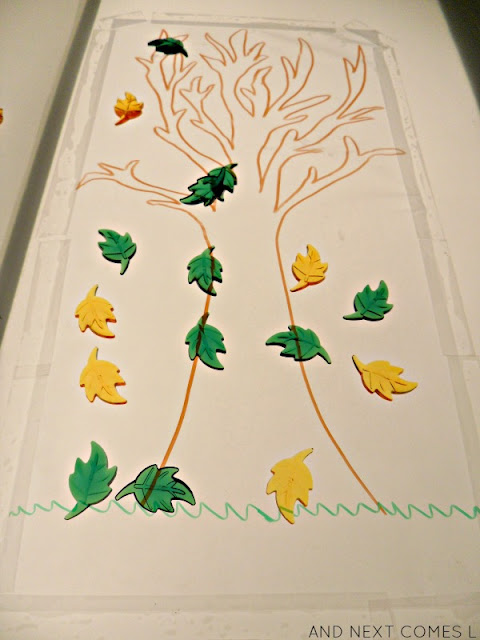 Fall leaf activities for children on the light table