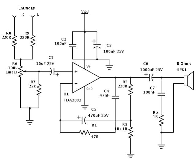 Esquema Amplificador com TDA2002