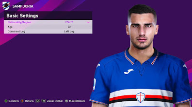 PES 2020 Faces Federico Bonazzoli by Rachmad ABs
