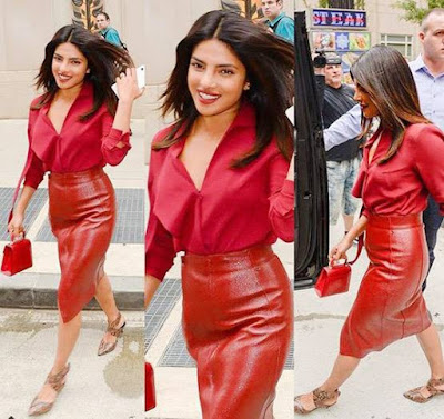 प्रियंका के इस लाल ड्रेस की कीमत जानकर हैरान रह जायेंगे, फोटो हुआ वायरल