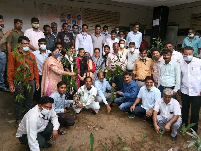 Plant more and more trees and protect them till they become trees - Dr Manish Chaudhry Plantation done in CMHO office   सीएमएचओ कार्यालय में किया पौधरोपण  
