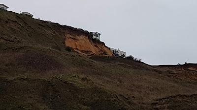 image of caravan teetering on the cliff edge on January 6th, 2020