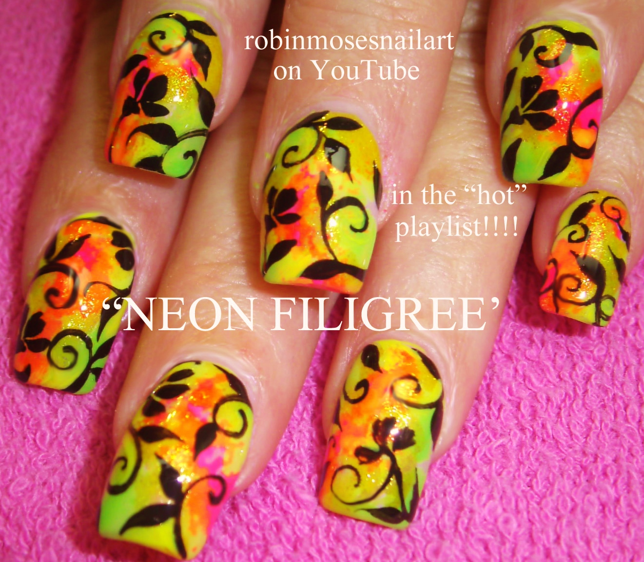 Neon Nail Art Filigree Nails Pink Orange Summer Diy Bright Ass