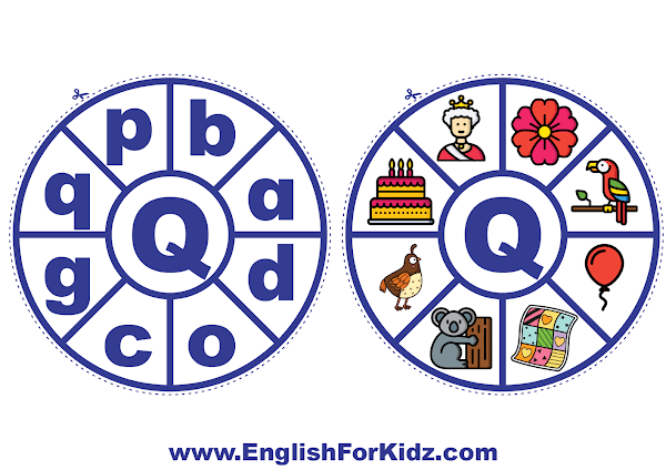 Alphabet matching wheel - letter q - clothespin ABC activities
