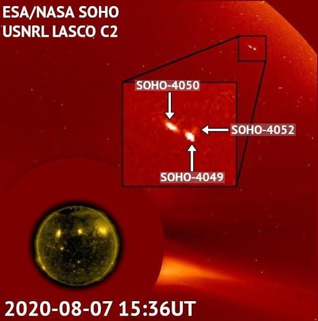 Ο δορυφόρος της NASA συλλαμβάνει ασυνήθιστο τριπλό κομήτη να πετά κοντά στον ήλιο