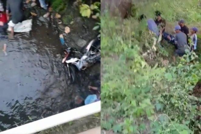 Motor di Bone Terjun Bebas dari Jembatan, Dua Orang Patah Tulang