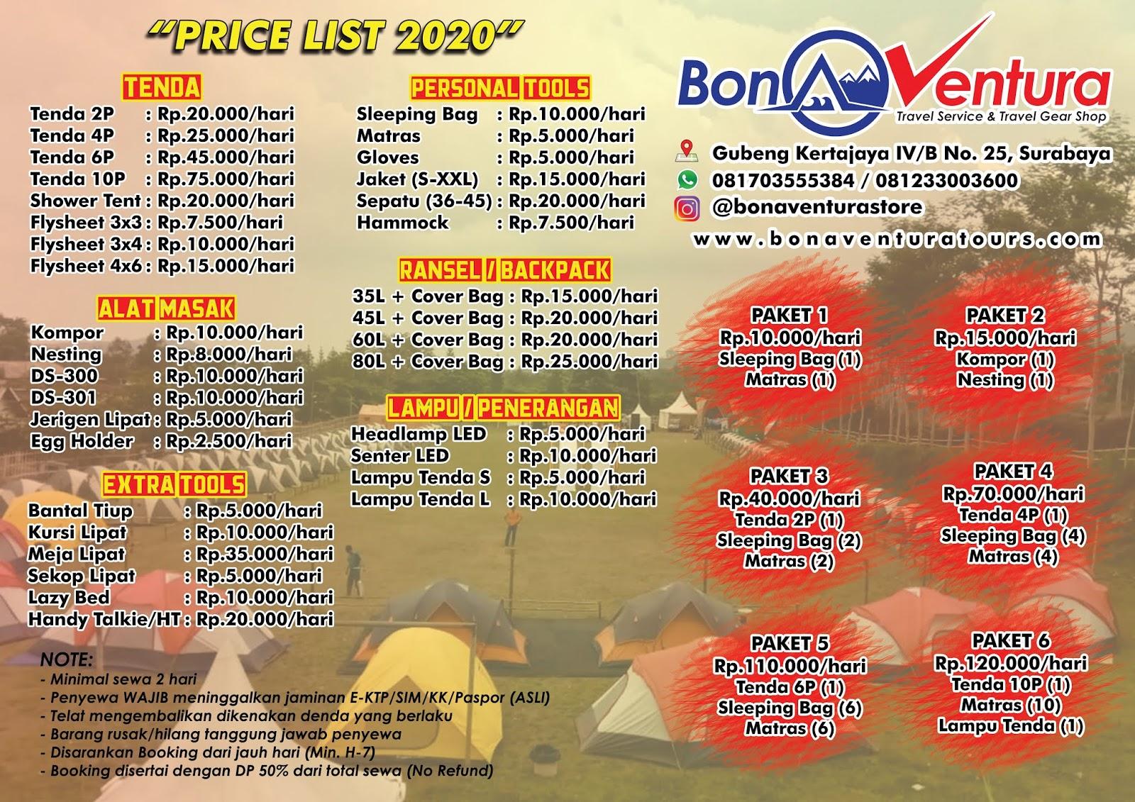 Rental Sewa Tenda Alat Camping Surabaya Bonaventura