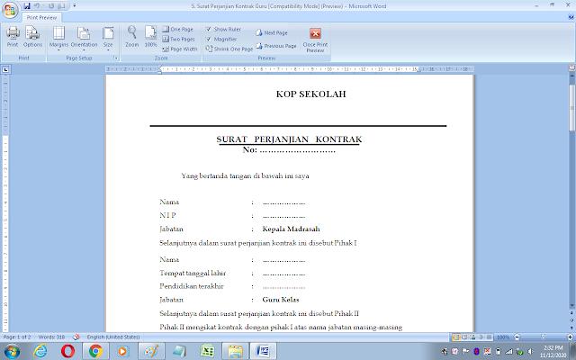 Surat perjanjian kontrak kerja guru/karyawan sekolah