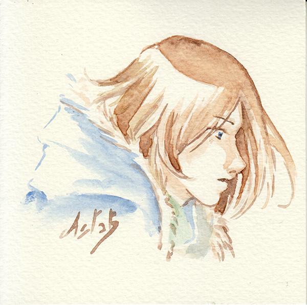 Portrait de Lancelot à l'aquarelle - ocres de Provence