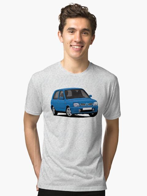Nissan Micra March K11C car t-shirt - blue