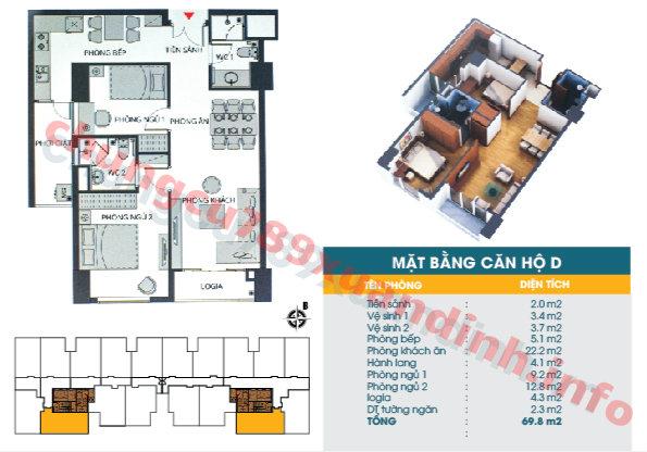 Thiết kế căn hộ D - Tòa CT2 - Diện tích 69.8m2 Chung cư 789 Xuân Đỉnh