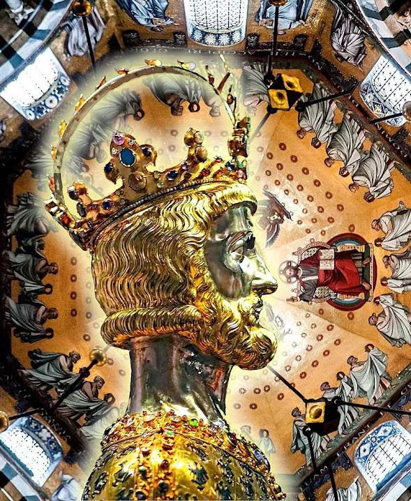 Busto-relicário de Carlos Magno. Fundo: cúpula da catedral de Aquisgrão, sua capital.