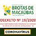 BROTAS DE MACAÚBAS: PREFEITURA PUBLICA DECRETO COM MEDIDAS DE PREVENÇÃO AO CORONAVÍRUS