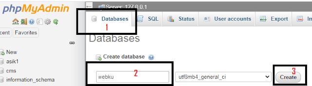 langkah membuat database melalui phpmyadmin