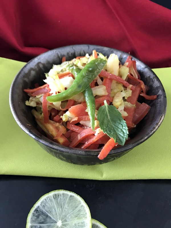 Carrot cabbage stir fry ribbons to pastas for Aum indian cuisine
