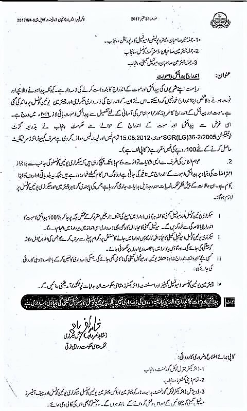 LETTER REGARDING RESPONSIBILITY OF BIRTH REGISTRATION AND DEATH REGISTRATION AT UNION COUNCIL