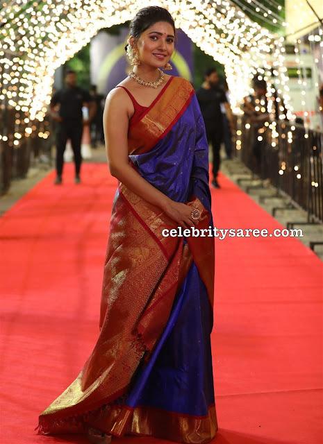 Vani Bhojan Blue Silk Saree