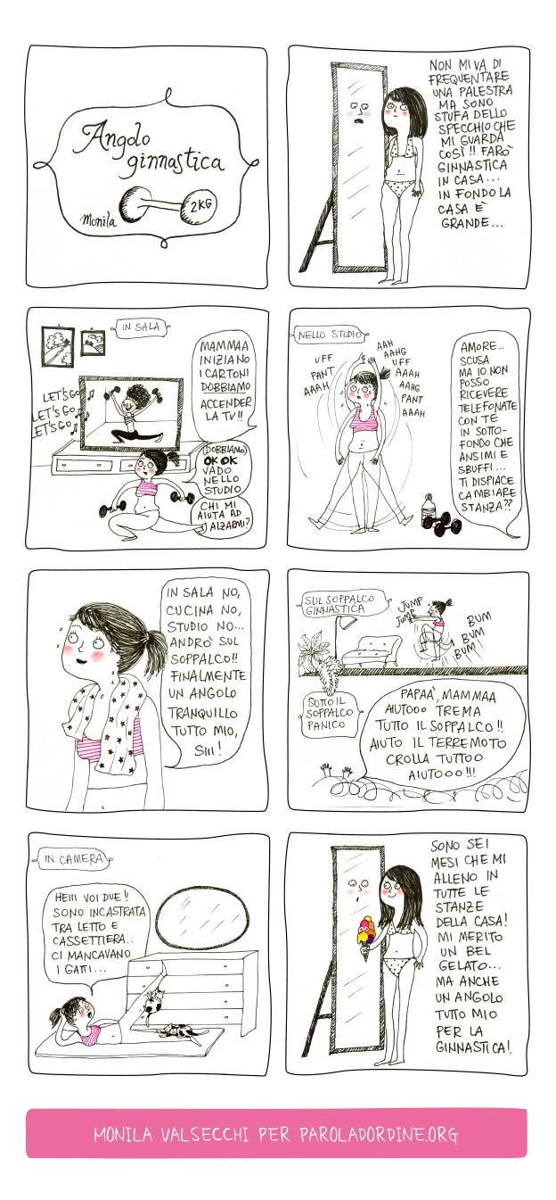 Paroladordine I ghirigori di Monila ginnastica vignette