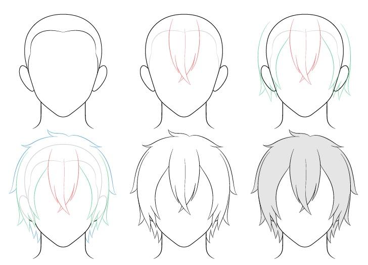 Anime sedang menggambar rambut laki-laki selangkah demi selangkah