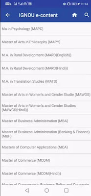 master degree course list