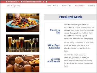 Part of the screen dump of the About the Area page, with Food & Drink - a photo of a dinner, a photo of beer and wine, and a photo of chocolates