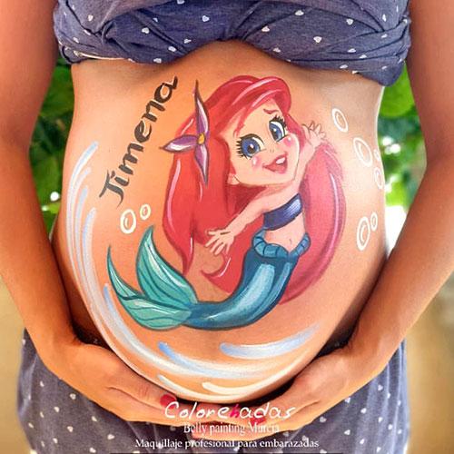 Tipos de maquillaje : Body Paint para embarazadas (Disney)