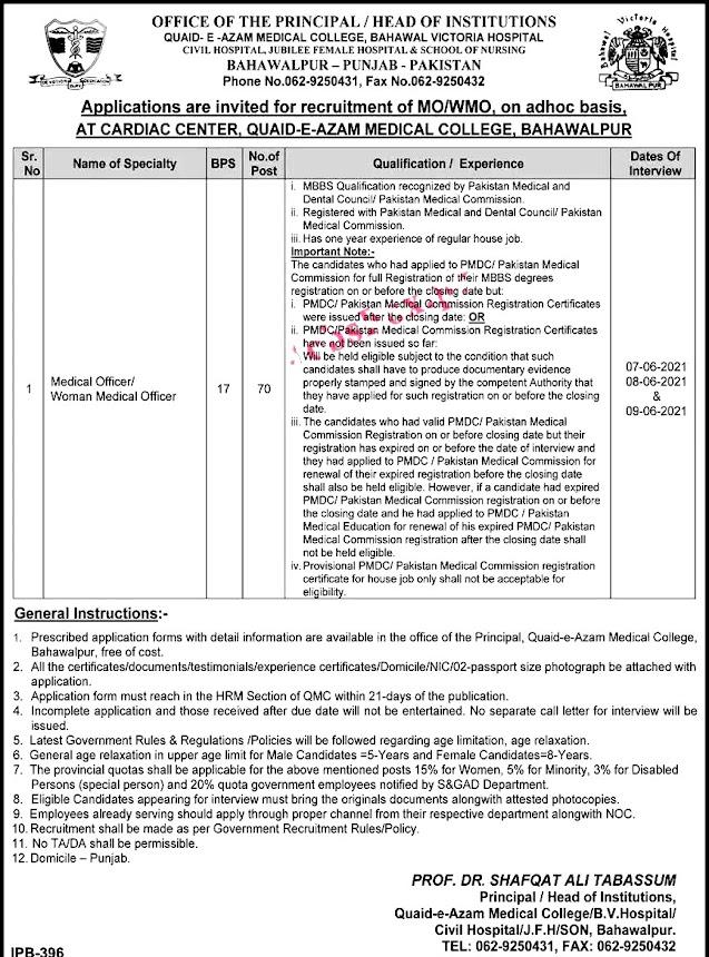 Latest Jobs in Quaid E Azam Medical College Bahawalpur 2021