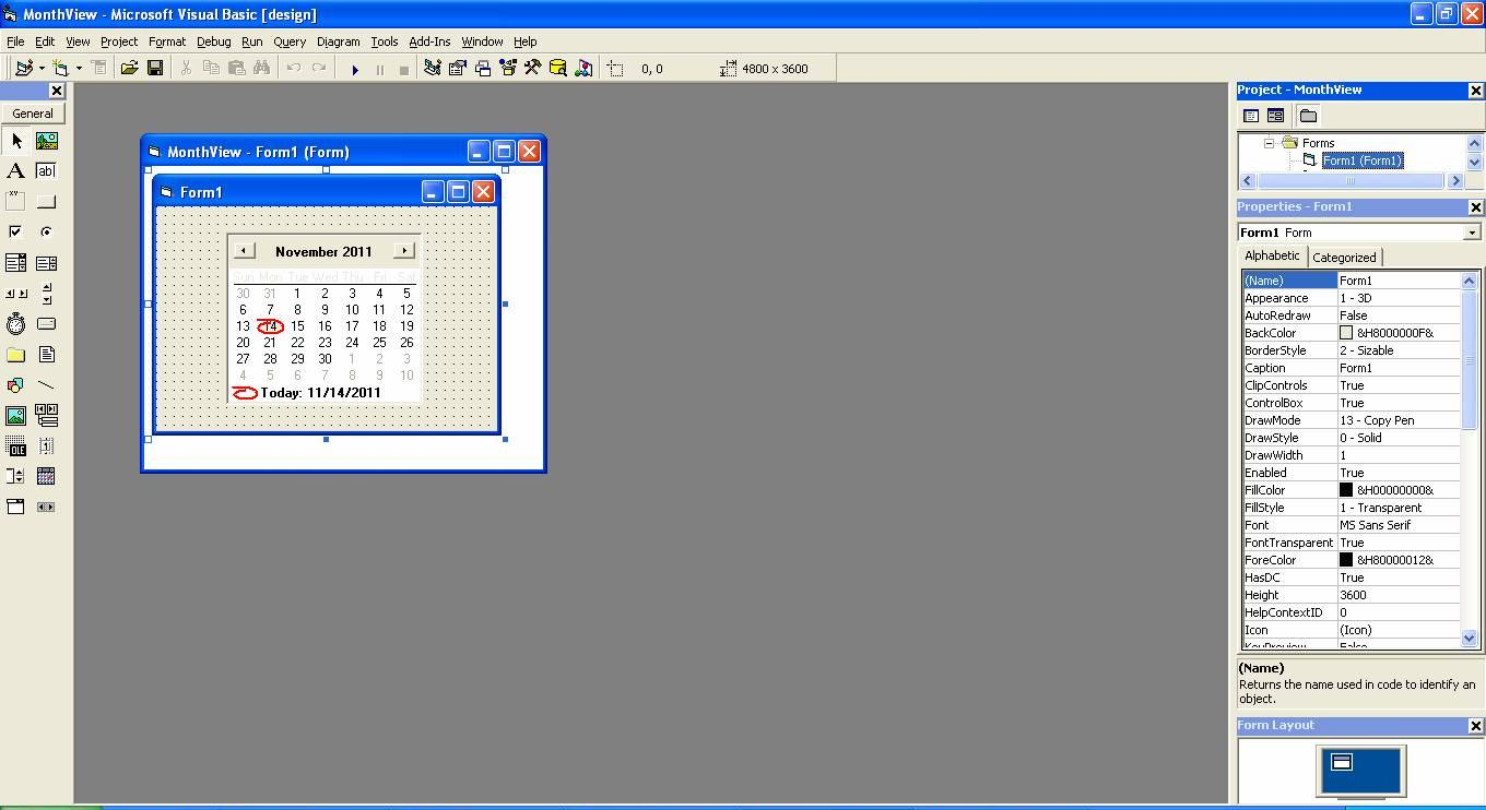 visual basic 6 0 tutorials code project for beginners month view calendar project. Black Bedroom Furniture Sets. Home Design Ideas