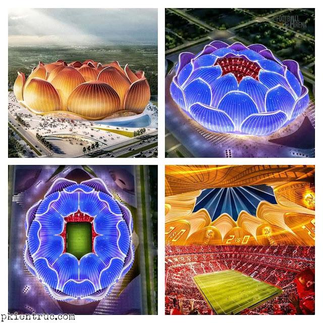 sân vận động biến đổi kỳ ảo dưới các hiệu ứng ánh sáng đèn trang trí