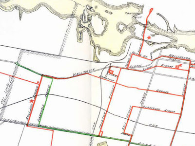 Click for full map. Crop of the 1929 Ottawa transit map showing only main roads and streetcar (red) and bus (green) lines. The map is cropped to show the City limits (Western Ave, Carling) in the West and Bank Street in the east. Although the separate lines are not indicated on the map, Wellington has streetcar tracks from Bank to Queen Street West in LeBreton Flats, and they resume on Wellington at Broad until Champagne, then resume again at Somerset until Holland. A bus line comes north on Parkdale and turns west on Wellington to the City Limits at Western before turning around.