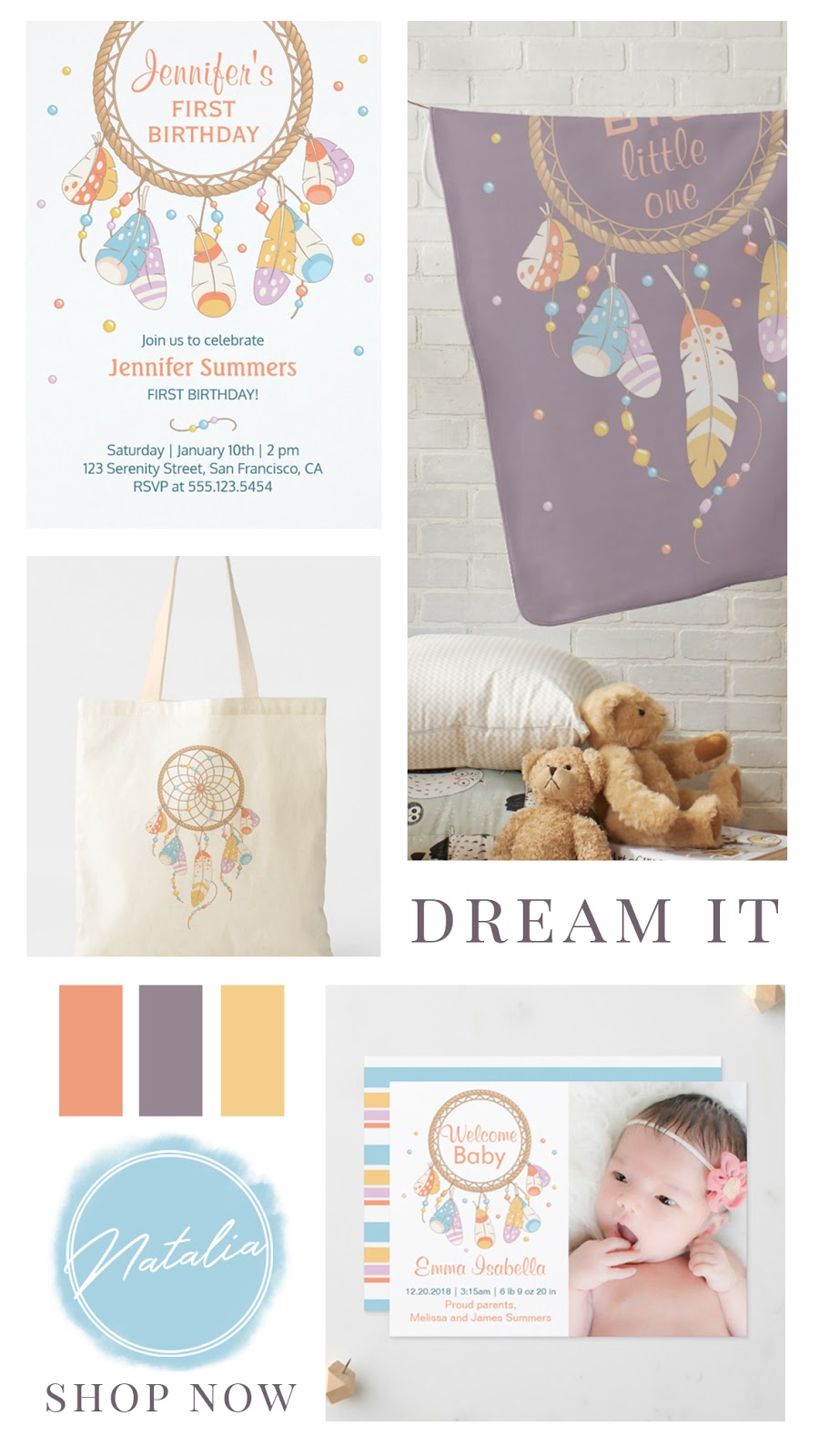 Boho chic dreamcatcher baby shower and birthday collection. Featuring personalized apparel, custom photo invites, gifts, and party favors. In a yellow, purple, orange, and blue color palette.