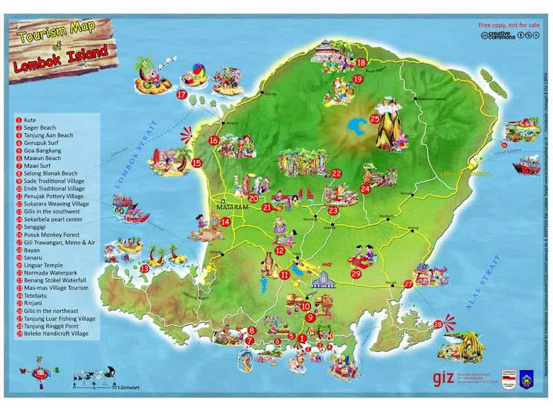 Tourism Map of Lombok Island