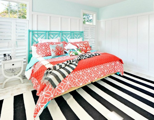 Black and White Turquoise Coral Beach Bedroom