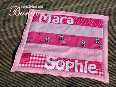 Krabbeldecke Decke Baby Geschenk Geburt Taufe Name Baumwolle Fleece wattiert pink Mara Sophie rosa Tiere handmade nähen Buntje