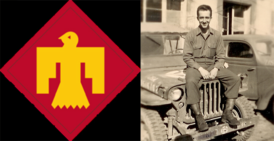 Emblem Patch of 45th Division and C.J. Barnes sitting on jeep.