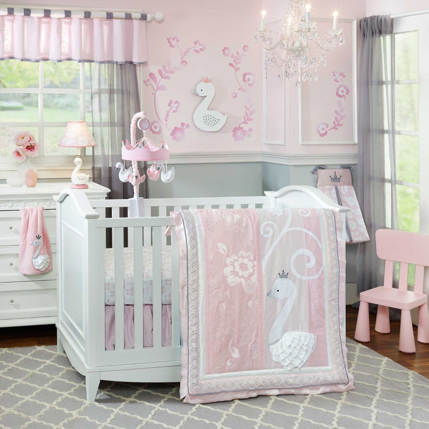 Darling Pink And Grey Baby Room Ideas With Silver Sparkle