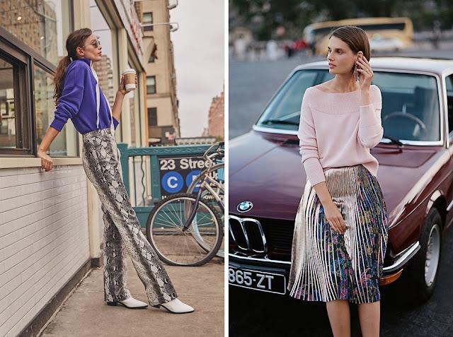 Синий и розовый тонкий джемпер, заправленный в брюки и юбку