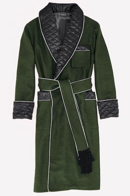 herren hausmantel wolle dunkelgrün morgenmantel gefüttert gesteppt lang warm edel elegant stilvoll