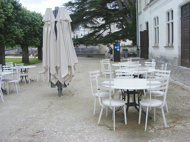 Toilets and cafe at the Chateau of Chenonceau during Covid19 restrictions.  Indre et Loire, France. Photographed by Susan Walter. Tour the Loire Valley with a classic car and a private guide.