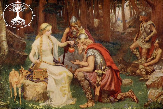 Pintura: Mulher viking sendo cortejada por guerreiros vikings enquanto dã um maçã a um deles que está de joelhos em frente a ela