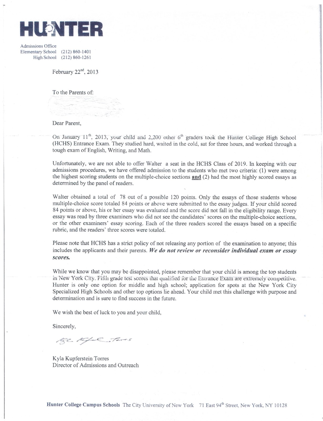 kweller prep blog nyc middle school high school and college hunter rejection letter