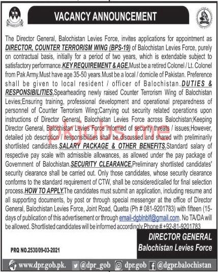 Latest Balochistan Levies Force Management Posts 2021 Ad2