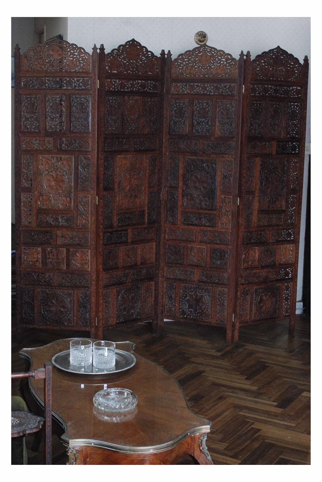 Biombo hindu en madera tallada - Biombos de madera ...