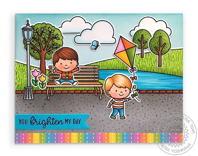 Sunny Studio Blog: You Brighten My Day Kids with Kite at Park Scene Card (using Spring Showers, Spring Scenes & Banner Basics Stamps and Spring Fling Paper)