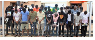 EFCC Arrests 54 Suspected Internet Fraudsters In Ogun And Osogbo, Seizes Cars [Photos]