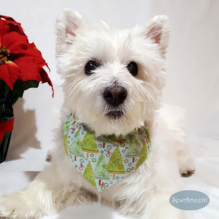 Pastel Christmas Trees Dog Bandanas