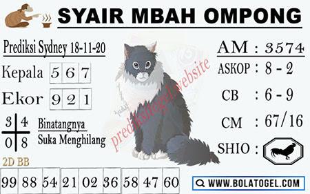 Syair Mbah Ompong SGP Rabu 18 November 2020