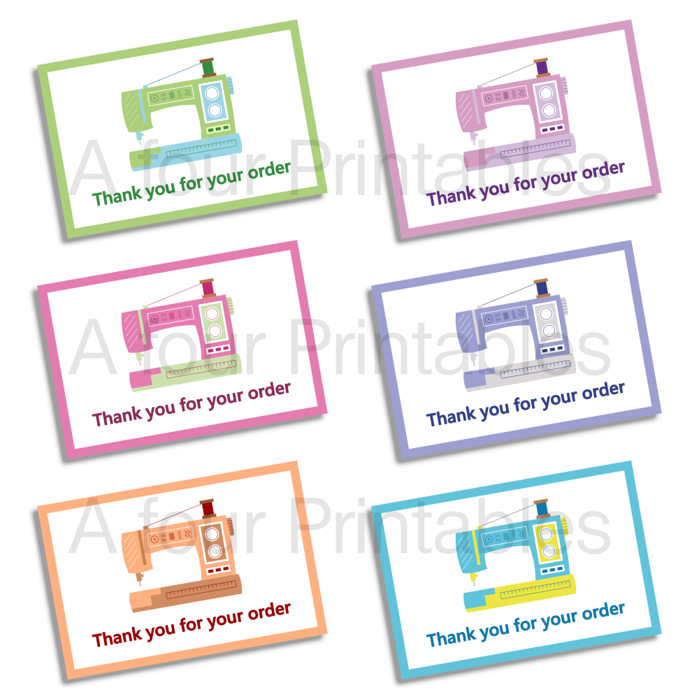 Sewing machine motif 'Thank you for your order' business cards sample print.